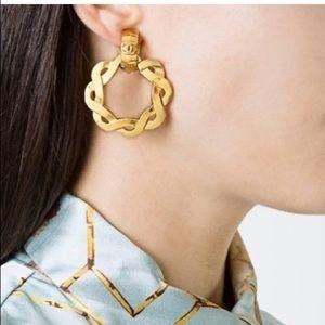 Chanel Gold Textured Braided Round Huggie Hoop